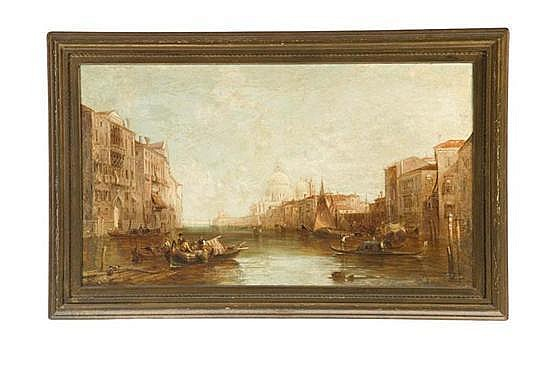***VENETIAN CANAL SCENE BY ALFRED POLLENTINE (BRITISH, 1836-1890).
