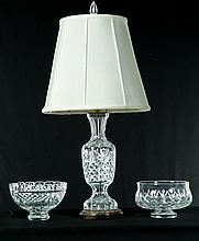 WATERFORD TABLE LAMP AND TWO BOWLS.