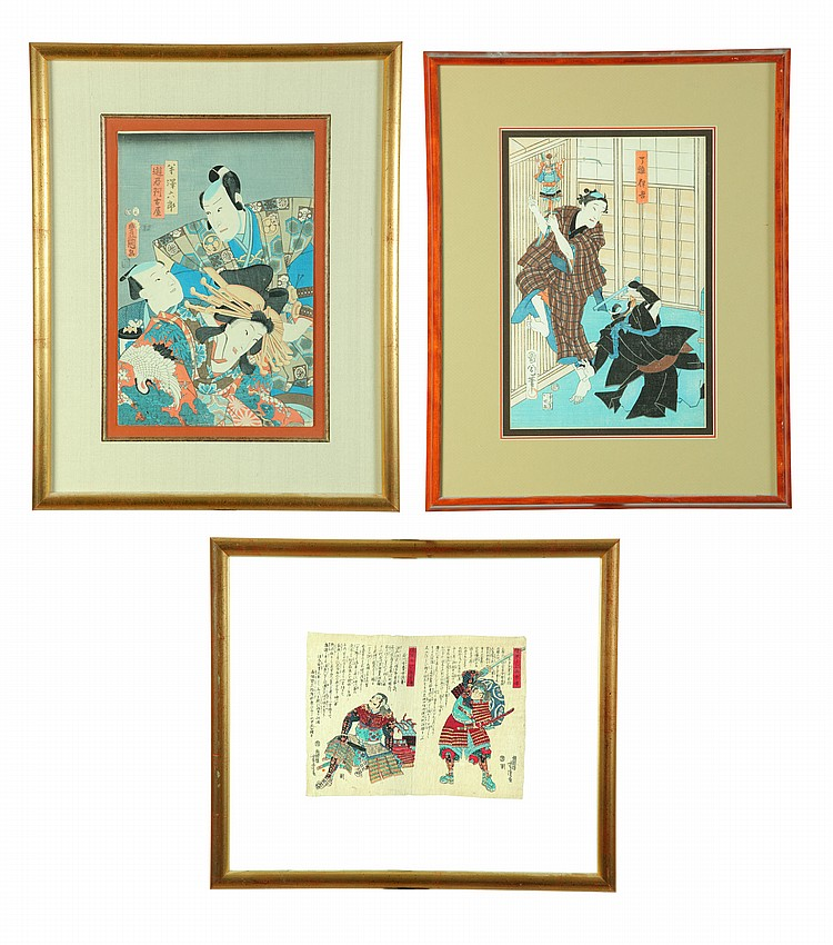 THREE WOODBLOCK PRINTS.