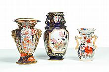 THREE MASON'S IRONSTONE VASES.