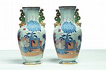 PAIR OF MASON'S IRONSTONE VASES.