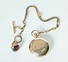 ILLINOIS HUNTING-CASE POCKETWATCH AND CHAIN.