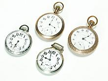 FOUR TWENTY-ONE JEWEL OPEN FACE POCKET WATCHES.