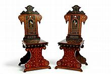 PAIR OF INLAID CHAIRS.