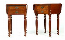 PAIR OF SHERATON-STYLE DROP LEAF WORK TABLES.