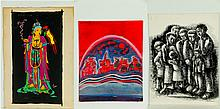 FOURTEEN PAINTINGS AND PRINTS INCLUDING LOUIS WOLCHONOK.