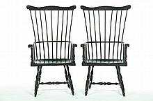 PAIR OF FANBACK STYLE ARM CHAIRS.