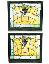 PAIR OF LEADED COLORED GLASS WINDOWS.