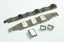 FOUR PIECES CHINESE STERLING JEWELRY.