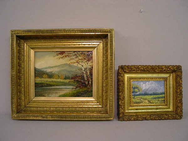 TWO FRAMED OIL PAINTINGS ON PANELS