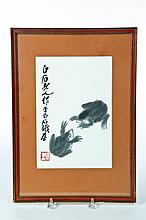 INK DRAWING OF FROGS AFTER QI-BAISHI (CHINA, 1864-1957).