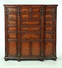 UNUSUAL CHIPPENDALE-STYLE BREAKFRONT CHEST OF DRAWERS.