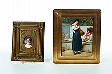 TWO HAND PAINTED PORCELAIN PLAQUES.
