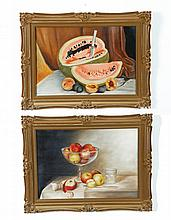 PAIR OF STILL LIFES (AMERICAN SCHOOL, LATE 19TH-EARLY 20TH CENTURY).