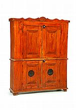 MIDWESTERN CARVED AND PAINTED CUPBOARD.