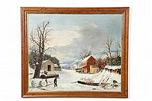 WINTER LANDSCAPE WITH INN AND BARN (AMERICAN, LATE 19TH CENTURY).
