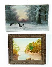 TWO LANDSCAPES WITH ANIMALS (AMERICAN, 19TH CENTURY).