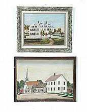 TWO PAINTINGS OF HOUSES.