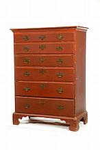 NEW ENGLAND CHIPPENDALE TALL CHEST OF DRAWERS.