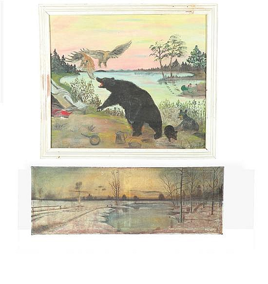 TWO FOLK ART PAINTINGS (AMERICAN, 1ST HALF-20TH CENTURY).