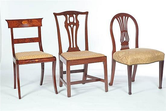 THREE SIDE CHAIRS.