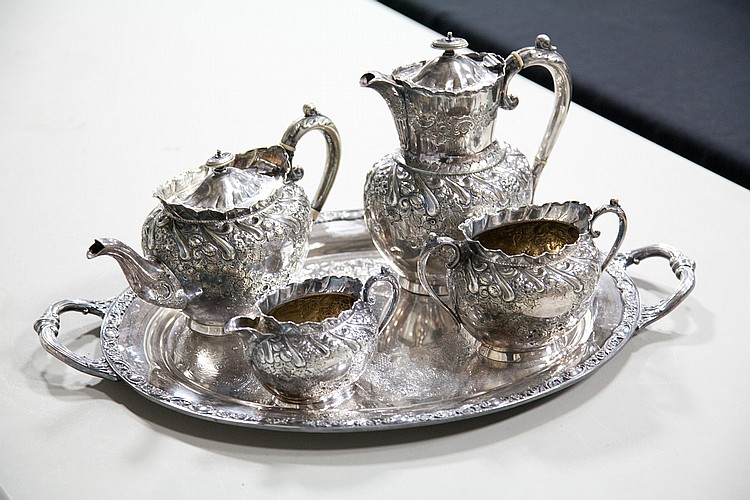 FIVE PIECE SILVER PLATED TEA SET.