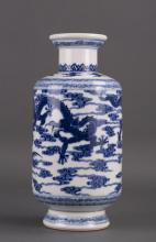 CHINESE BLUE WHITE PORCELAIN VASE W/ DRAGON MOTIF