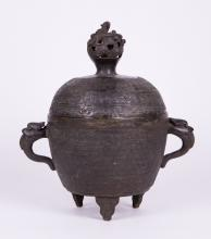 CHINESE MING BRONZE COVERED CENSER