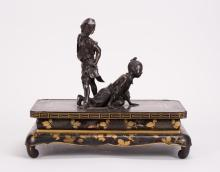 JAPANESE BRONZE STUDY GROUP WITH LACQUER STAND