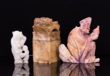 THREE CHINESE JADE AND SOAPSTONE CARVING