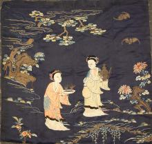 CHINESE EMBROIDERY PANEL WITH FEMALE FIGURINES