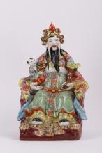 LARGE CHINESE PORCELAIN SEATED FIGURINE