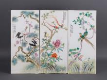 THREE PORCELAIN PLAQUES WITH BIRD AND FLORAL MOTIF