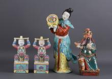 FOUR CHINESE PORCELAIN FIGURINES