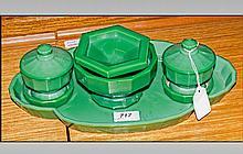 Art Deco Pressed Glass Dressing Table Set, Green