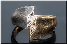 18ct Gold Diamond Set Dress Ring Modern Design In