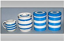Four Pieces Of Cornish Ware Blue & White Green