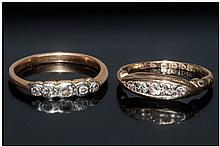 2 Ladies Gold Diamond Dress Rings, Both With 5