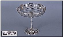 A Very Fine Silver Open Worked Pedestal Bowl,