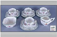 Shelley 1930's 14 Piece Tea Service. ''Lowestoft''