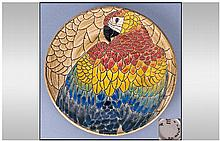Dennis China Works Hand Painted ''Parrots Plate''