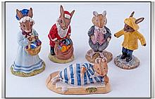 Five Royal Doulton Bunnykins comprising Mr