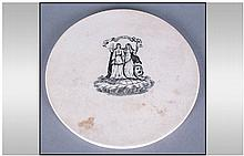 Pottery Pearl Ware Type Circular Slab, with a