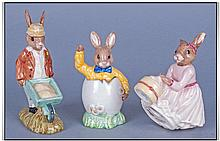 Royal Doulton Bunnykins Figures, 3 In Total. 1,