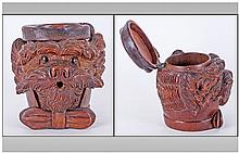 A Finely Carved Black Forest Dogs Head Tobacco Box