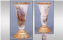 Royal Worcester Hand Painted Trumpet Vase,
