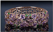 Purple Enamel and Austrian Crystal Butterfly