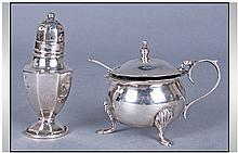 A Walker And Hall Silver Mustard Pot And Spoon,