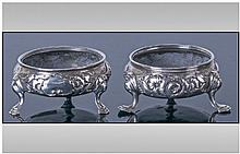 George III Pair Of Silver Salts, with embossed