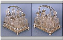 Edwardian Six Piece Silver Plated & Cut Glass